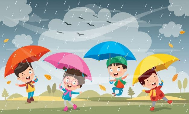 Children Playing Under The Rain Kids Playing Umbrella Cartoon Snowman Coloring Pages