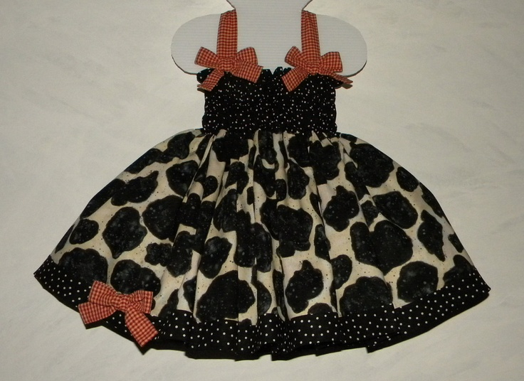 Baby-Toddler Cowgirl Shirred Halter Cowhide Print Dress, Made to Measure Couture in sizes 3 month-T3. $50.00, via Etsy.