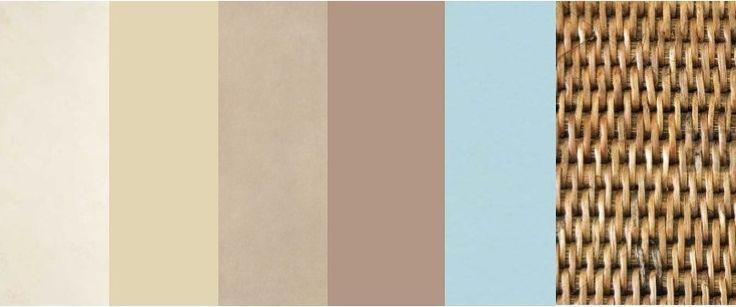 Palette Zona Giorno: avorio, beige, tortora, talpa chiaro, celeste pastello, rattan.