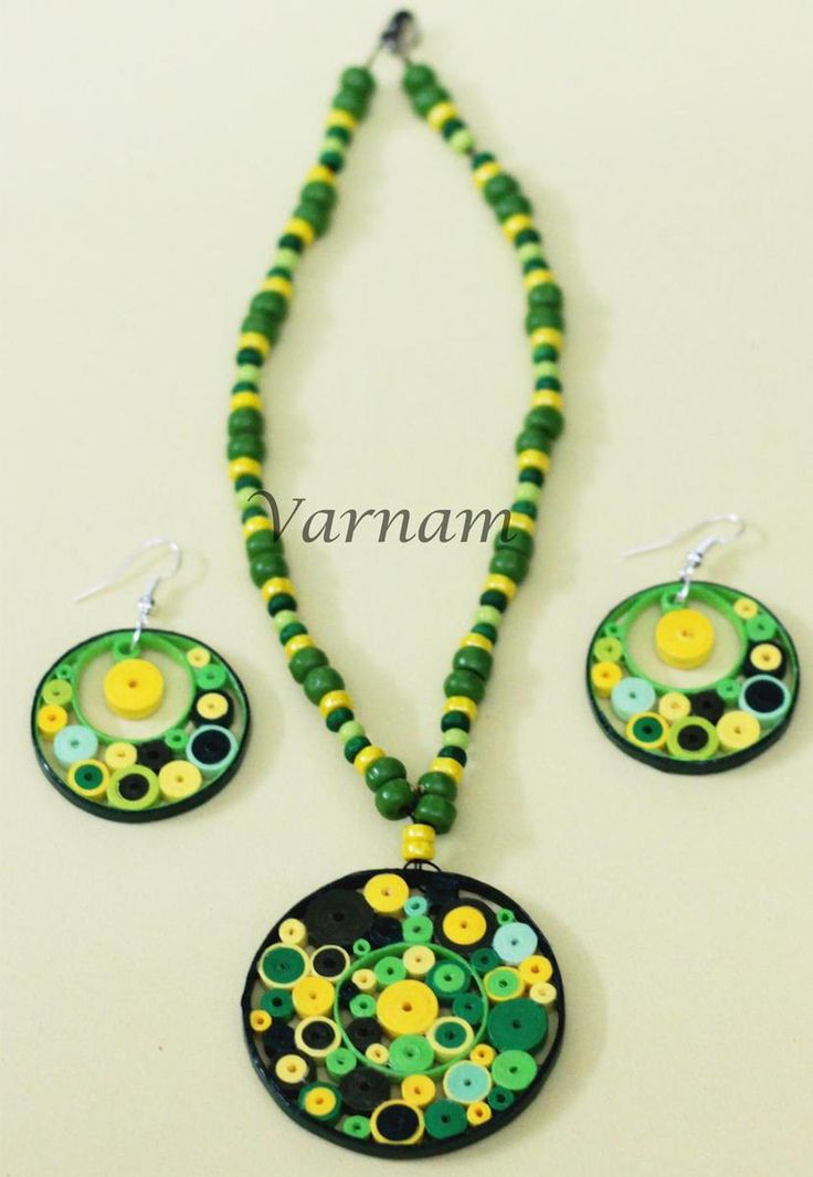 Quilled Jewelry Set - Green pebbles