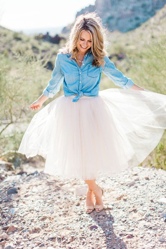 Engagement Photos.Bring out your inner fashionista with the Serendipity Tulle Skirt.  This gorgeous skirt offers up 5 layers of tulle and falls right around the knee.  TheChicFind.com