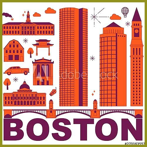 Boston culture travel set, famous architectures and specialties in flat design. …