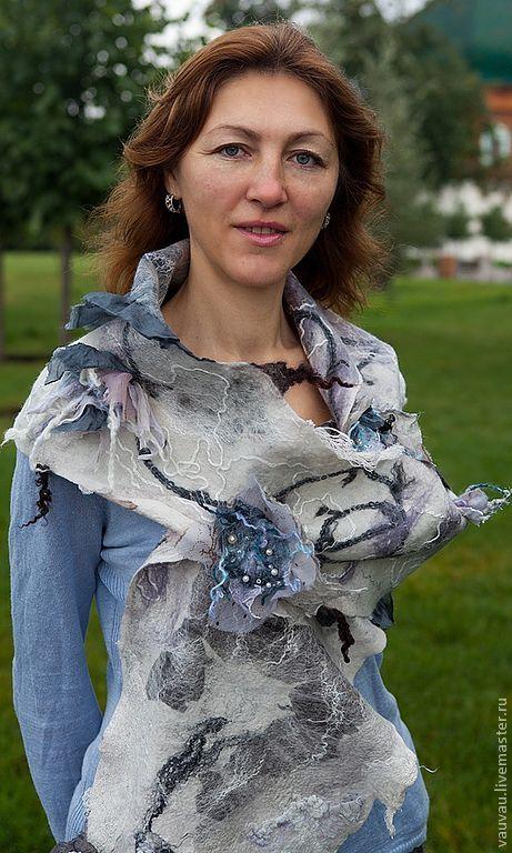 Купить шарф бохо Жемчужный - белый, абстрактный, бохо, бохо-стиль, шарф, палантин