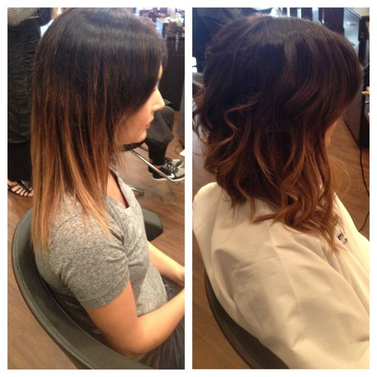 Extensions to sides and cut in back. Great Lengths USA Cold Fusion extensions. ombre - Best Chicago Hair Salon, Lincoln Park