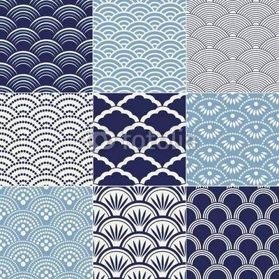 Papier peint motif de vagues de l'océan transparente japonais - bleu • PIXERS.fr