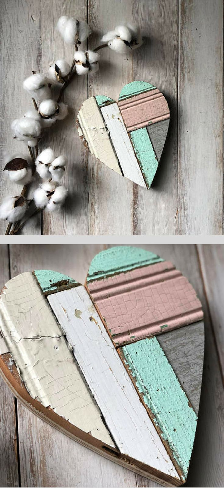 I really like how the different textures and finishes look next to each other! Small reclaimed wood heart, Valentine Heart, Girl Nursery Decor, Shabby Chic Decor, Fixer Upper Decor, Farmhouse Decor, Rustic Farmhouse Nursery, Shabby Chic Nursery, Bedroom Decor, Heart Sign, Farmhouse Wall Art, Gallery Wall Ideas, Farmhouse Wedding Decor, Baby Shower Gift Idea #ad #shabbychicbedroomsdecoratingideas