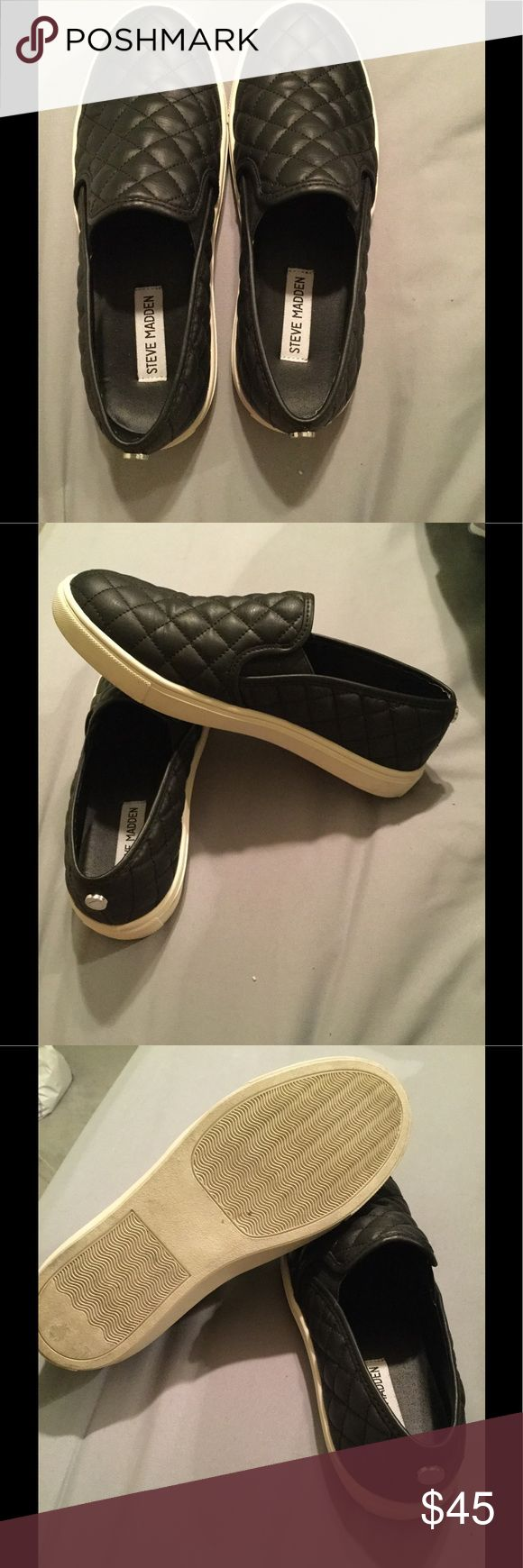 Steve Madden Slip Ons These are practically brand new. Only worn outside 3 times. Authentic. Purchased from the Steve Madden store. These are a must have in your wardrobe. Super comfy. Steve Madden Shoes Sneakers
