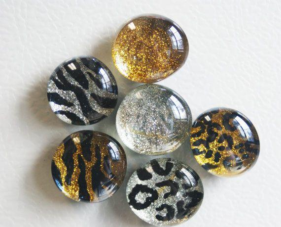 Tiger stripe Magnets Leopard Spot Magnet glass gem magnets