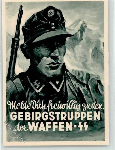 Künstlerkarte SS Gebirgstruppen der Waffen- Propaganda WK II…