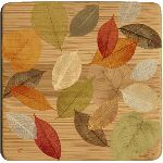 Bamboo Coaster Set - Golden Leaves I