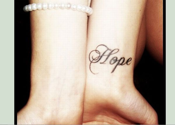 Hope tattoo idea. Love the font of this one.