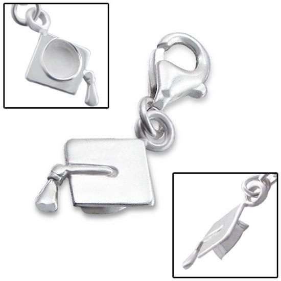 Sterling Silver Clip on Mortarboard Charm