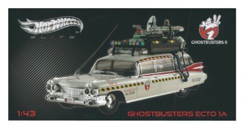 Ghostbusters 2 Ecto-1A Hot Wheels Elite 1:43 Scale Vehicle by Mattel. $74.95. You know who to call! Ages 14 and older.. Call the Ghostbusters at JL5-2020 or 555-2020. This Hot Wheels Ecto-1A Vehicle is a must for any Ghostbusters fan! An updated version of the classic Ecto-1.. This Ecto-1A boasts additional upgrades, such as the digital announcement boards on each side of the vehicle's roof, broadcasting Ghostbusters advertisements, specials, and their phone number: JL5-202...