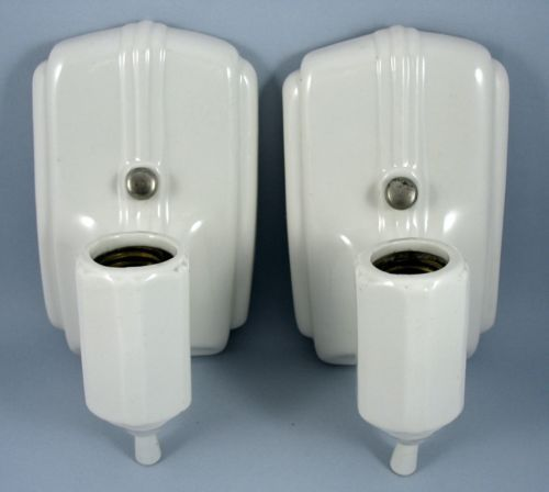 Details about lot of 2 vintage antique white porcelain - Art deco bathroom lighting fixtures ...