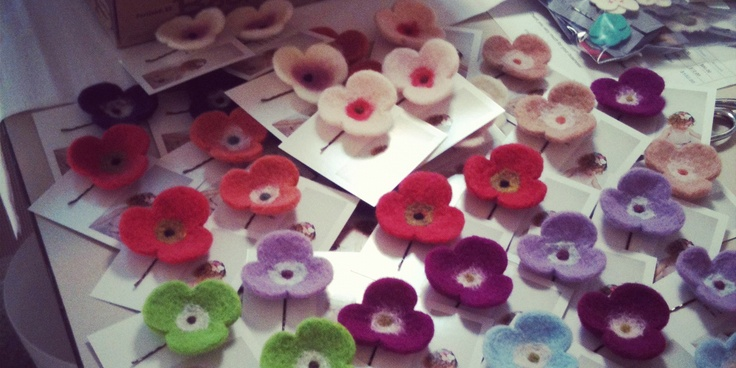 Needle felted hair accessories from merino wool @islacorbett.com