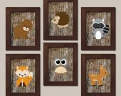 WOODLAND Nursery Art Animals Rustic Country Baby Boy Decor Raccoon Bear Owl Fox Gray WALL ART Set of 6 Prints Woodland Decor Bedding Picture