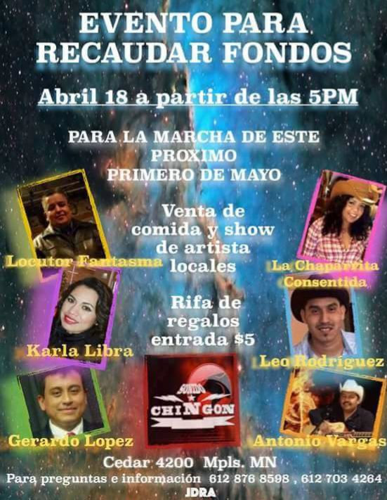 Evento para recaudar fondos 18 de Abril