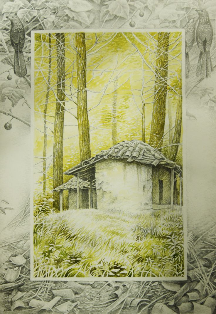 """""""La casa de teja"""" acuarela sobre papel"""