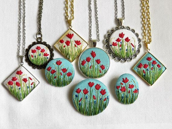 Poppy pendant Poppy necklace Hand embroidery necklace Floral pendant French…