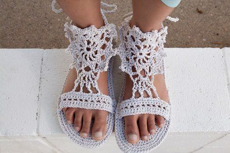 Go There Now Yeah, the whole sandal is crocheted, including the single crochet sole! An ankle crochet chain strap keeps the crochet motif and heel secure.   Designer: Brenda K. B. Anderson Finished Size: XXS (XS, S, M, L) to fit shoe sizes 1 – 2 (3 – 4, 5 – 6, 7 – 8,…
