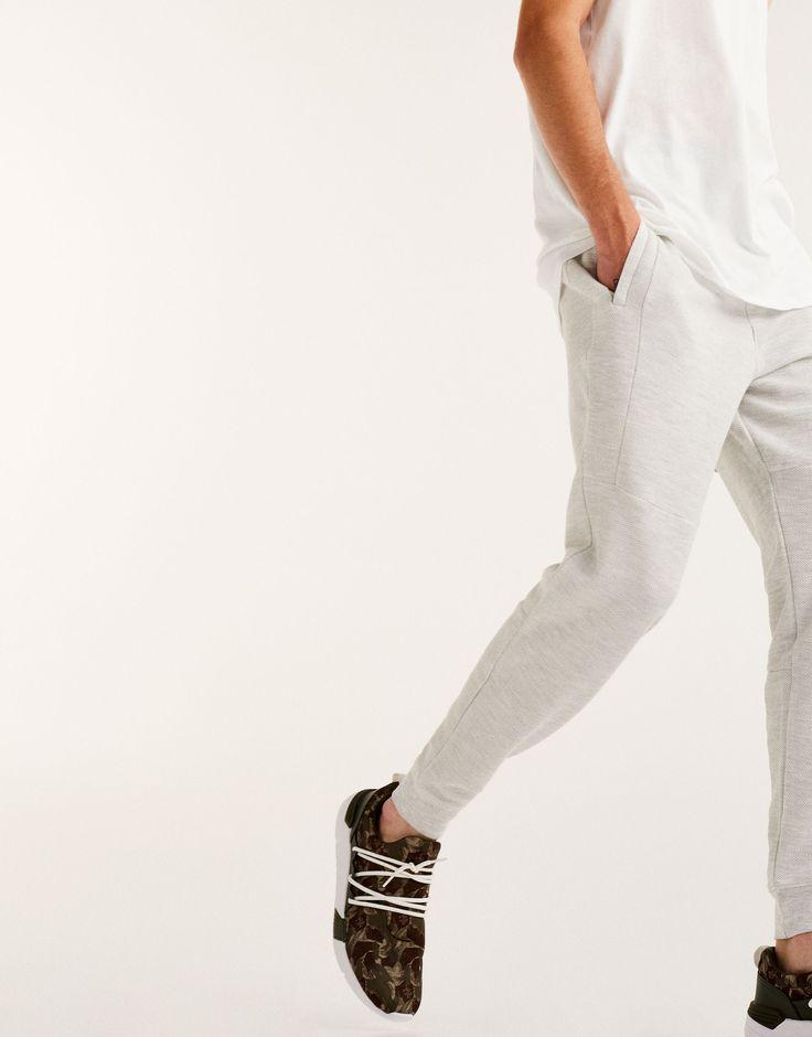 Pantalón jogging piqué cremalleras - Joggers - Pantalones - Ropa - Hombre - PULL&BEAR Ecuador