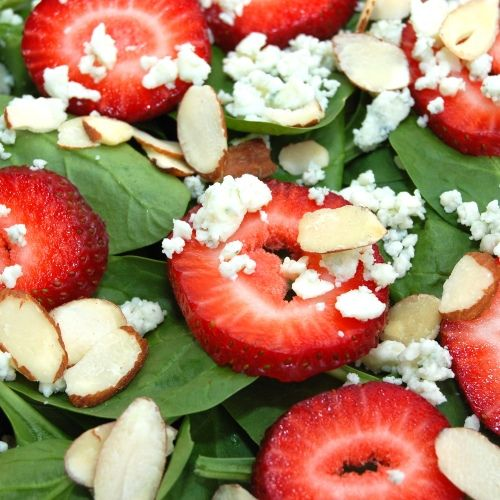 Strawberry Spinach Salad - made this last night with spicy sausage ...
