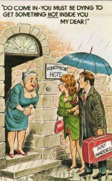 honeymoon seaside landlady postcard