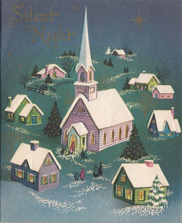 Vintage Greeting Card Christmas Landscape Church Steeple Snow i748