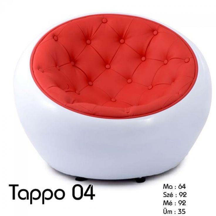 Tappo fotel:      Rendkívül kényelmes és ergonomikus karosszék klub fotel.     A tökéletes ülőbútor keres kikapcsolódás és kényelem?     Ez a szék tökéletes az Ön számára.     A kiváló minőségű anyagok és a modern design lakása éke lehet.     A héj anyaga tartós üvegszál az ülőfelület párnázott műbőrből készül.  Méret:      Magasság : 64 cm     Szélesség: 92 cm     Mélység : 92 cm     Ülés magasság: 35 cm     Kartámasz magasság : 76