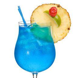 Blue Lagoon: 1 shot Blue Curacao, 5 oz Lemonade, 1 shot Vodka.