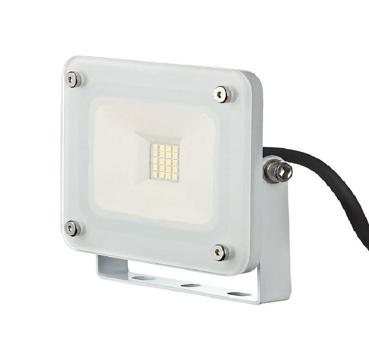 10 W LED Fluter weiß kompakt Flutlicht Außenstrahler Außenleuchte weißes Gehäuse 230V slim 1254: Amazon.de: Beleuchtung