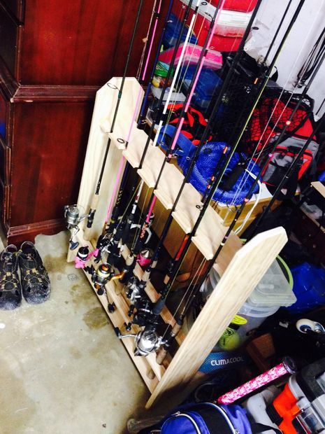 Only best 25 ideas about fishing rod rack on pinterest for Fishing rod storage ideas