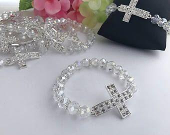 24 Recuerdos para Bautizo, pulsera de perlas en crystal, recuerdos of para Comunion, recuerdos para quince, recuerdos para boda