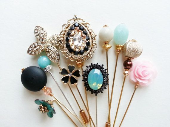 11 Gold & Opal Pins  Hijab Pin / Hat Pin / Scarf by RubinaKadir, £17.00