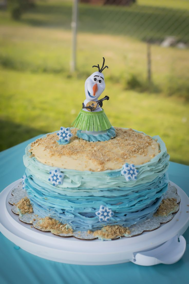 Olaf in summer cake, Oh Snap! Photography, 3rd birthday cake, Frozen Summer Party, Frozen Pool Party
