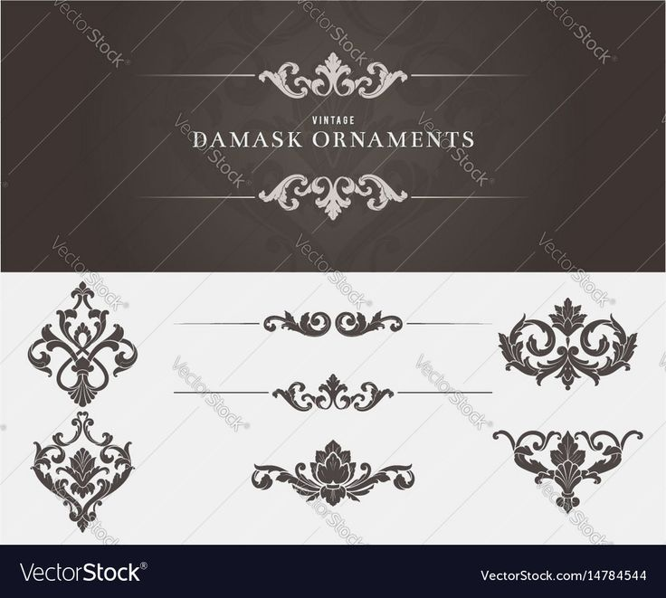 Set of damask ornaments. Download a Free Preview or High Quality Adobe Illustrator Ai, EPS, PDF and High Resolution JPEG versions.