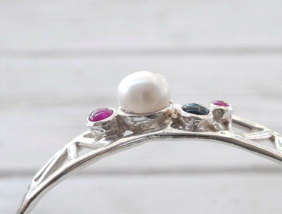 White Pearl Bangle Bracelet, Dark Pink Ruby, Navy Blue Sapphire, Sterling Silver Cuff Bracelet, Geometric Modern Jewelry, Santorini Jewelry