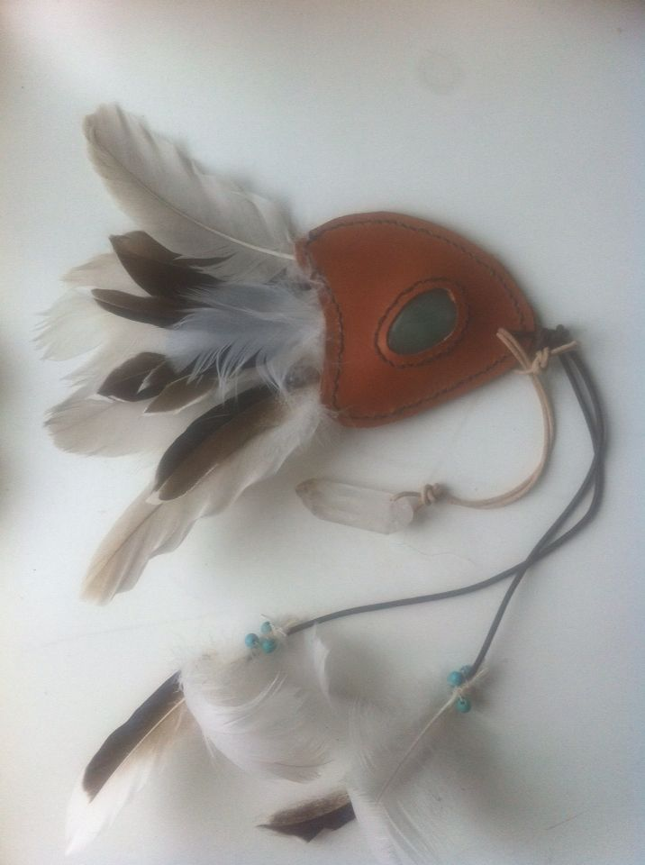 Feather fan for smudging - with swane feather I found myself, turquoise stone in leather handle and
