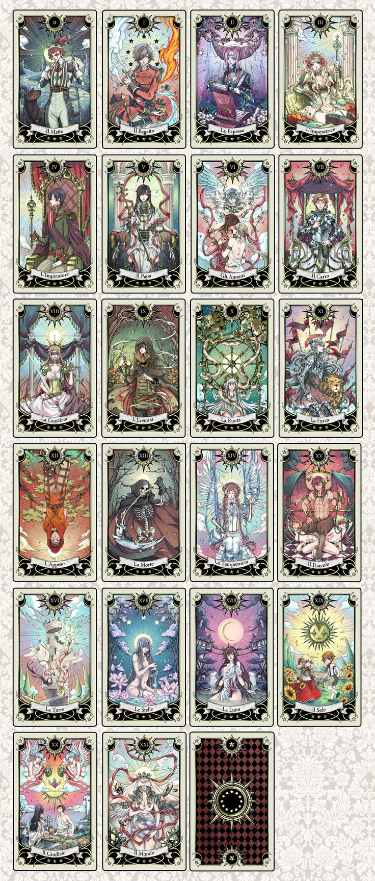 Tarot deck progress by rann-rann.deviantart.com