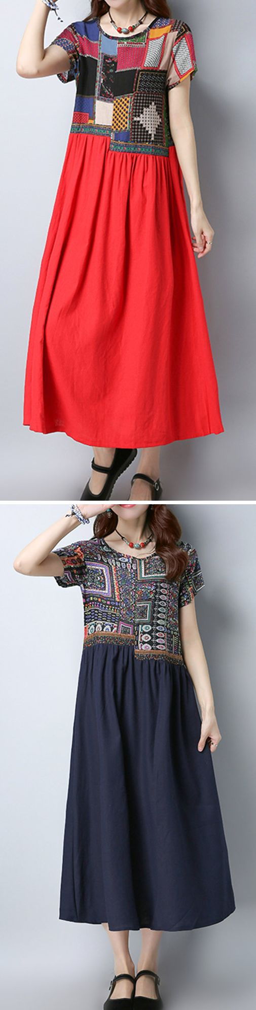 US$ 21.19 Women Ethnic Patchwork Short Sleeve Mid-Long Vintage Dresses