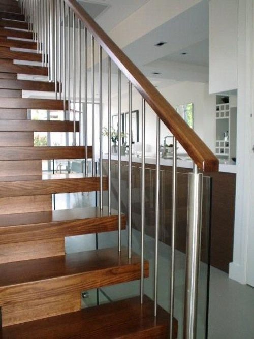 open tread stairs with timber handrail - Google Search