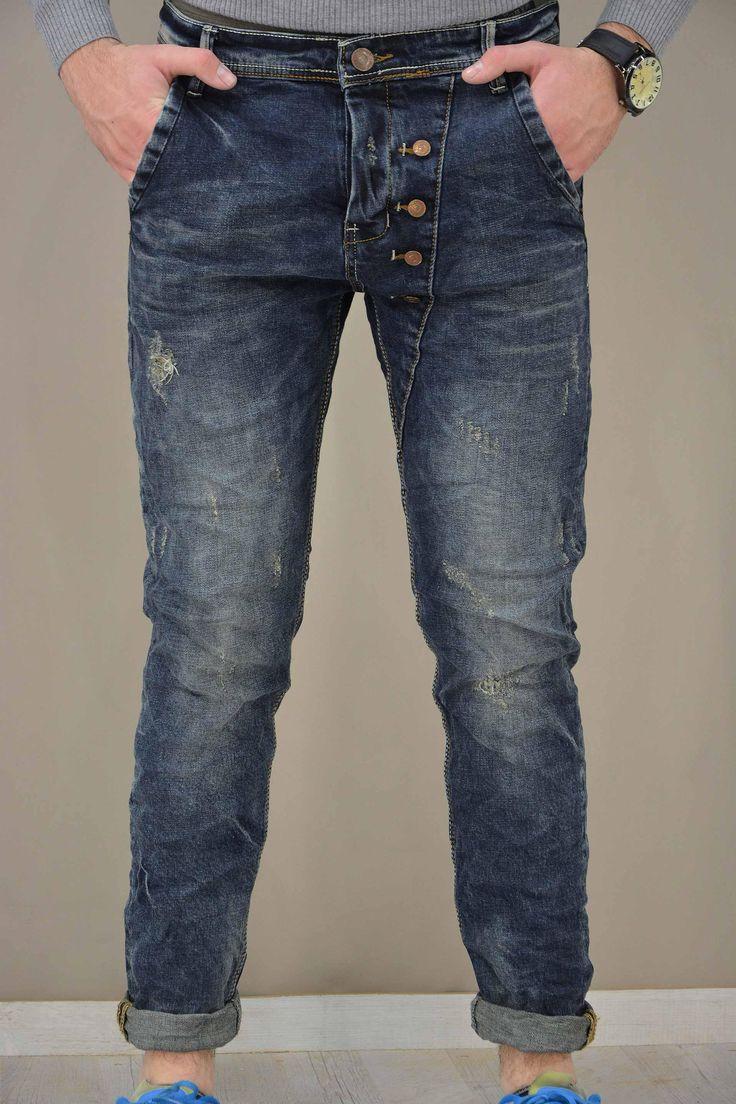 Ανδρικό παντελόνι τζίν με κουμπιά PANT-5022 Παντελόνια τζίν - Jeans & Ντένιμ