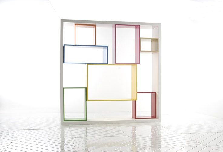 colorful design of rectangular units that can be reconfigured by the user. The project, titled Conoscenti,