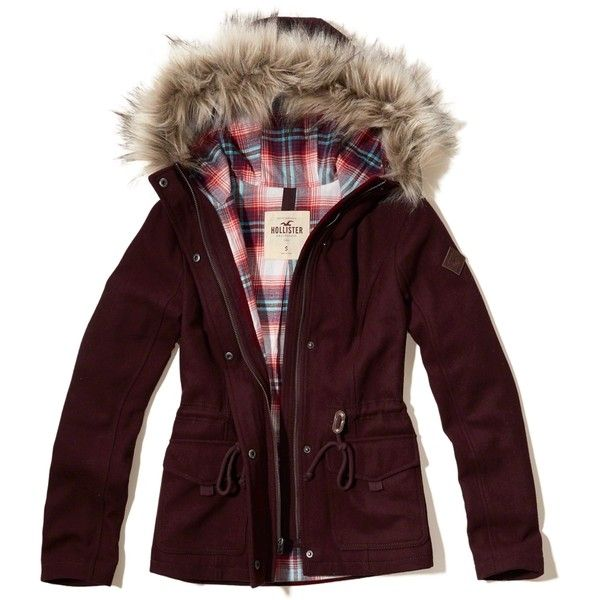 Hollister Wool Anorak Jacket ($100) ❤ liked on Polyvore featuring outerwear, jackets, burgundy, wool anorak jacket, drawstring jacket, wool anorak, burgundy jacket and anorak coat