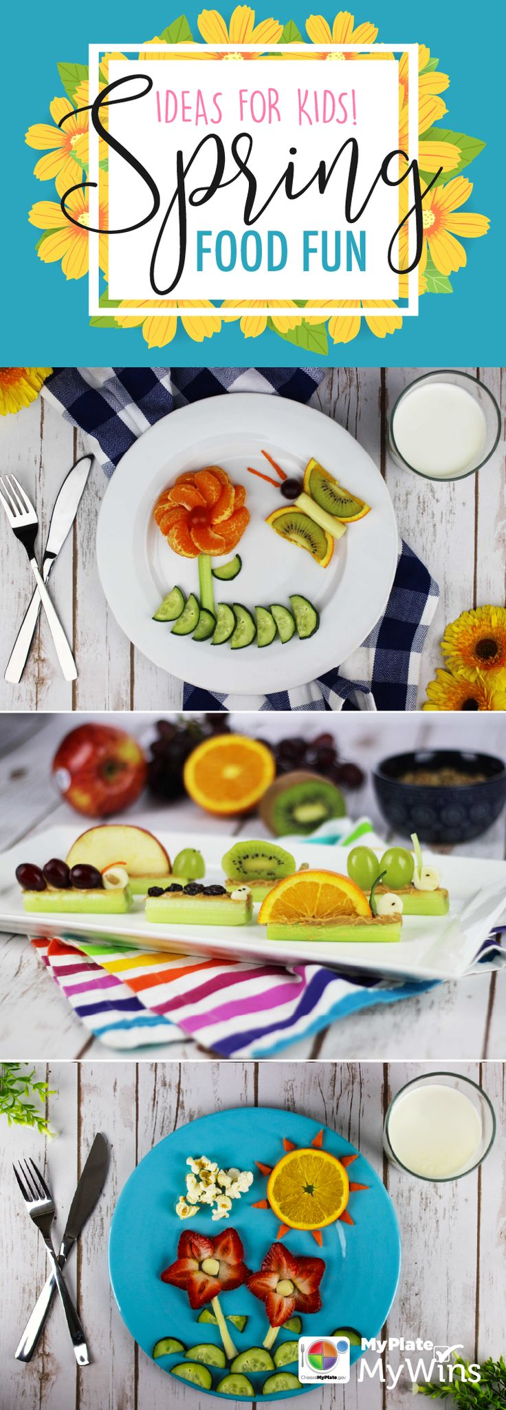 Let kids have fun with their food & make these snacks together!  #Spring #FoodArt #MyPlate