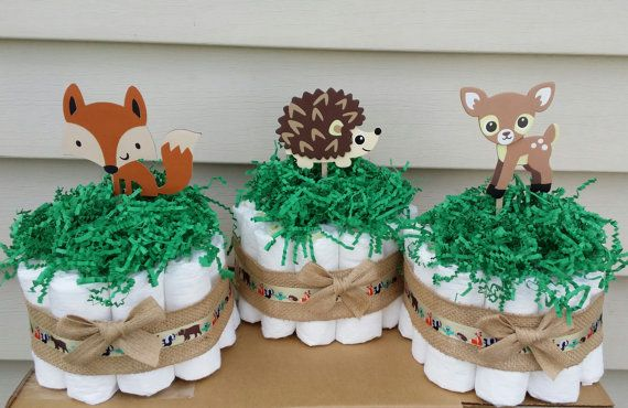 3 Woodland, forest theme diaper cakes, baby shower centerpieces