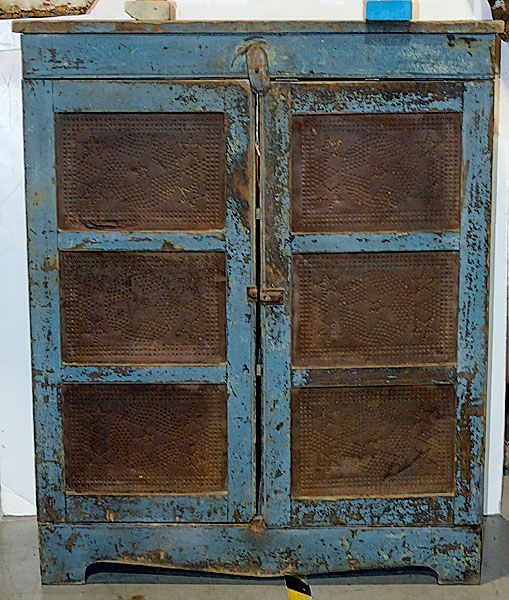 Antique Pie Safe Prices | Pie Safe in Old Blue Paint, - Cowans Auctions