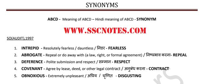 Synonyms Asked in Various SSC Exams Previous Papers Updated CGL 2017 PDF #english #exams #grammar #englishgrammar #ssc