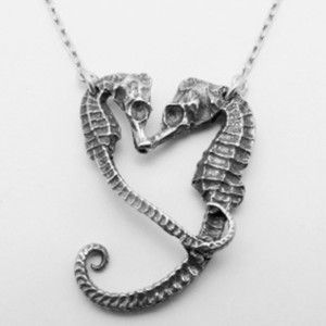 Seahorse Heart Necklace Sterling now featured on Fab.