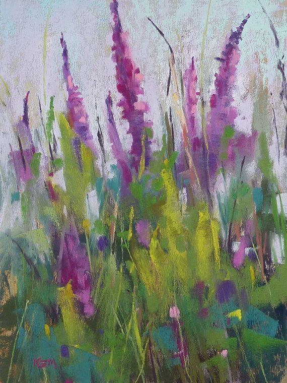 Wildflowers Purple Original Pastel Painting 9x12  by Karen Margulis psa